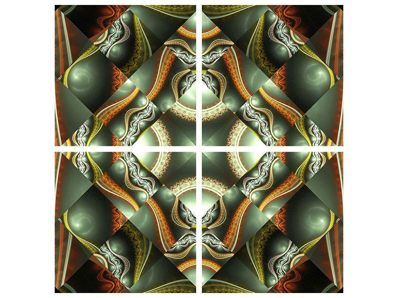 Metallic-Bild 4-teilig Fraktales Bild