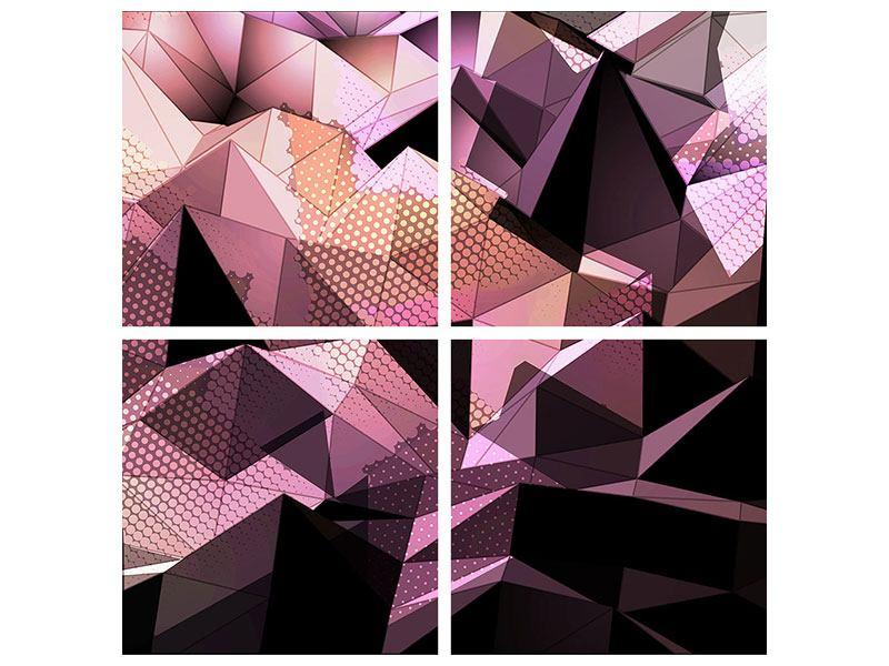 Metallic-Bild 4-teilig 3D-Kristallstruktur