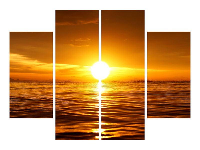 Metallic-Bild 4-teilig Glühender Sonnenuntergang am Wasser