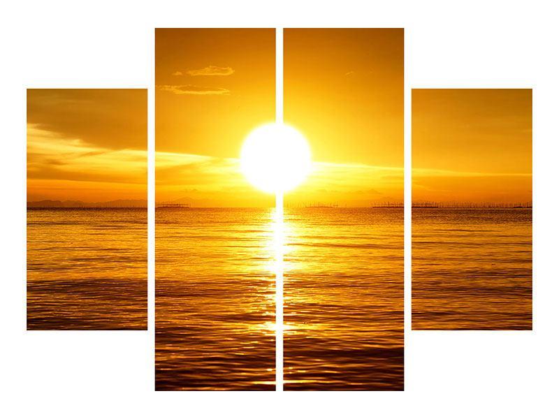 Metallic-Bild 4-teilig Traumhafter Sonnenuntergang