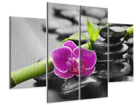 Metallic-Bild 4-teilig Feng-Shui-Orchidee
