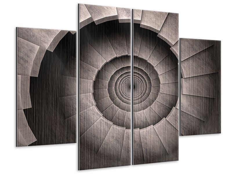 Metallic-Bild 4-teilig Steinwendeltreppe
