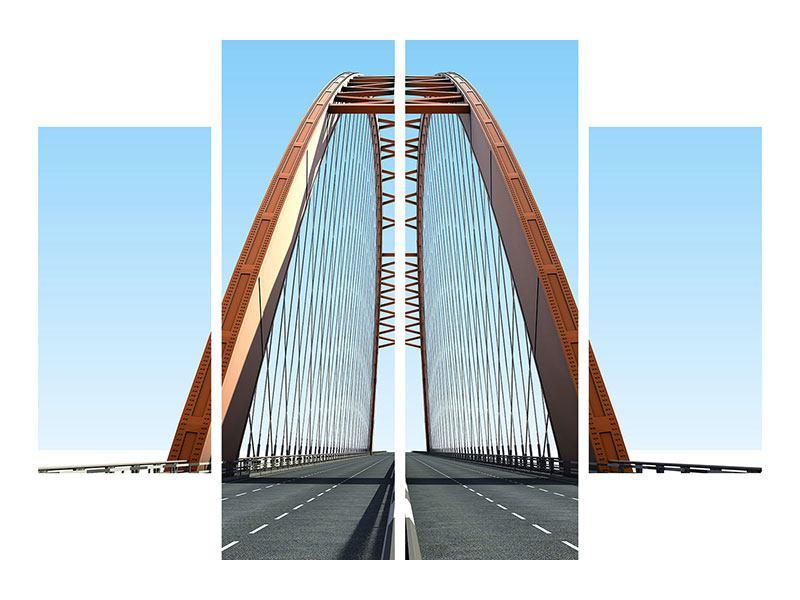 Metallic-Bild 4-teilig Brückenpanorama