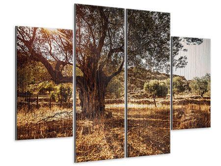 Metallic-Bild 4-teilig Olivenhain