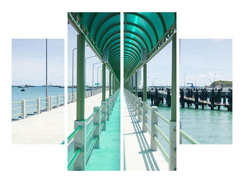Metallic-Bild 4-teilig Die Brücke am Meer