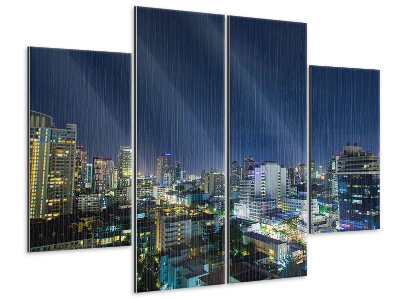 Metallic-Bild 4-teilig Skyline Nachts in Bangkok