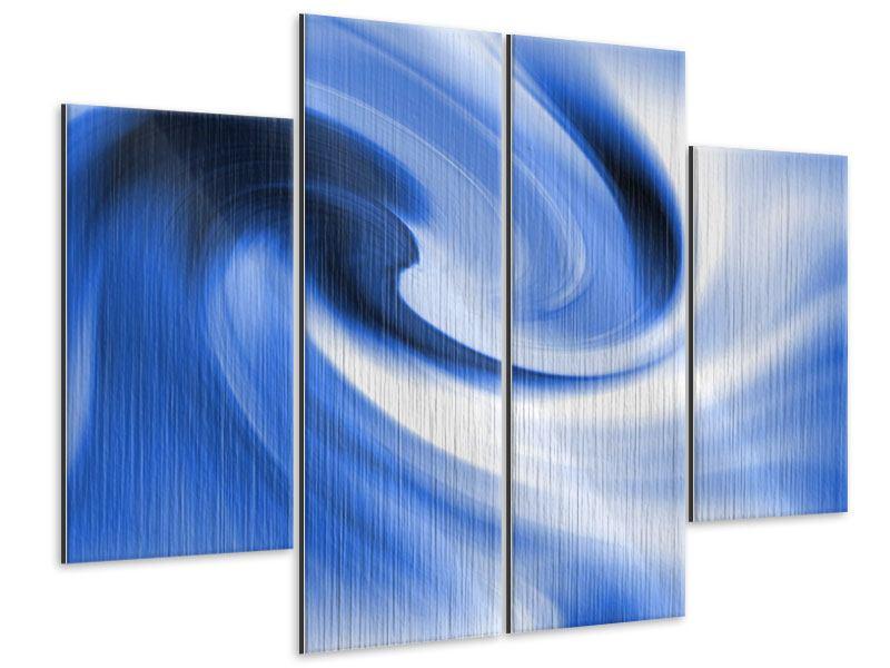 Metallic-Bild 4-teilig Abstrakte blaue Welle