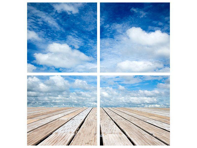 Metallic-Bild 4-teilig Hoch über den Wolken