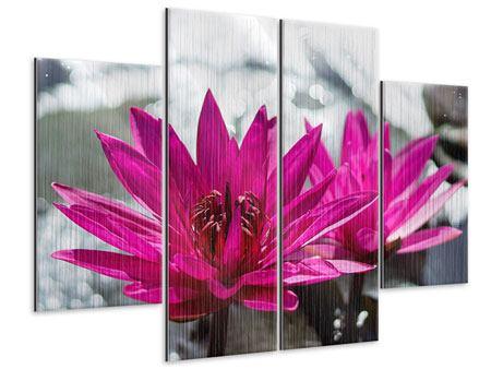 Metallic-Bild 4-teilig Seerosenduo in Pink