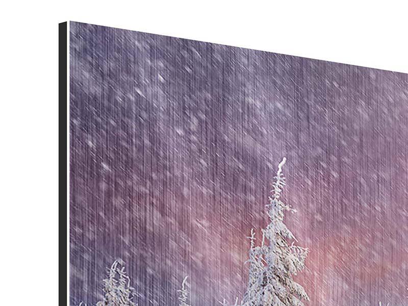 Metallic-Bild 4-teilig Mystischer Schneesturm