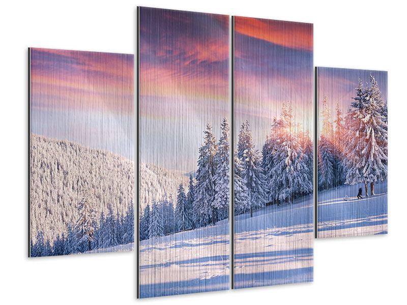 Metallic-Bild 4-teilig Winterlandschaft