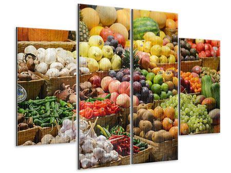 Metallic-Bild 4-teilig Obstmarkt