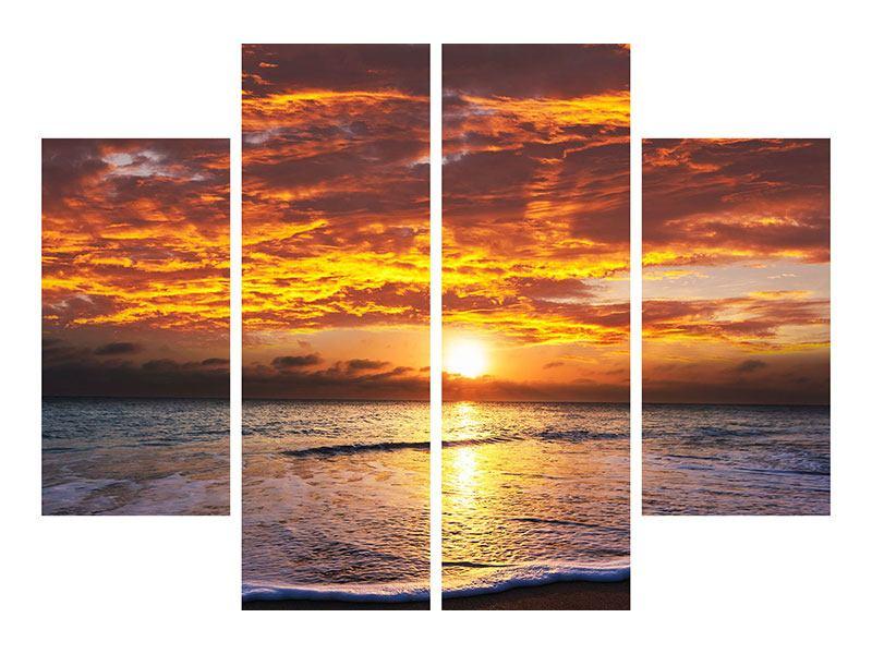 Metallic-Bild 4-teilig Entspannung am Meer