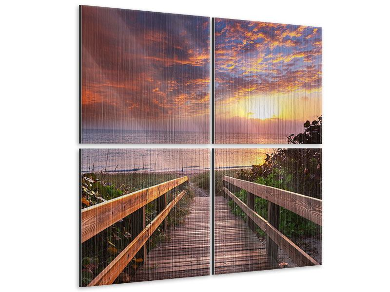 Metallic-Bild 4-teilig Sonnenuntergang