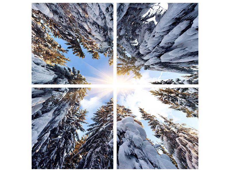 Metallic-Bild 4-teilig Verschneite Tannenspitzen in der Sonne