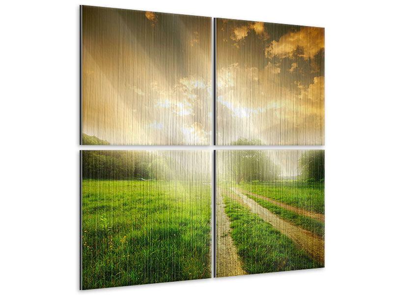 Metallic-Bild 4-teilig Mystischer Sonnenuntergang