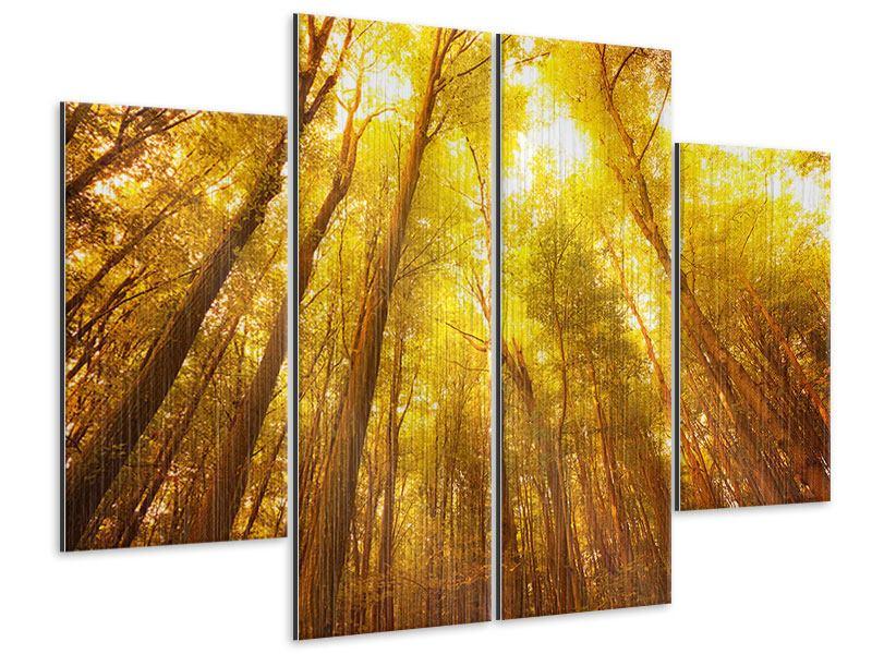 Metallic-Bild 4-teilig Herbstwald