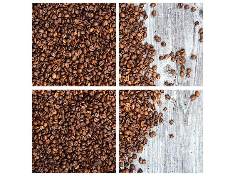 Metallic-Bild 4-teilig Kaffeebohnen