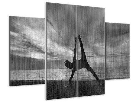 Metallic-Bild 4-teilig Yoga am Strand