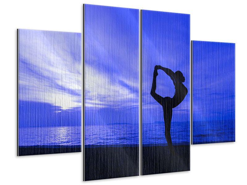Metallic-Bild 4-teilig Yogaübung am Strand