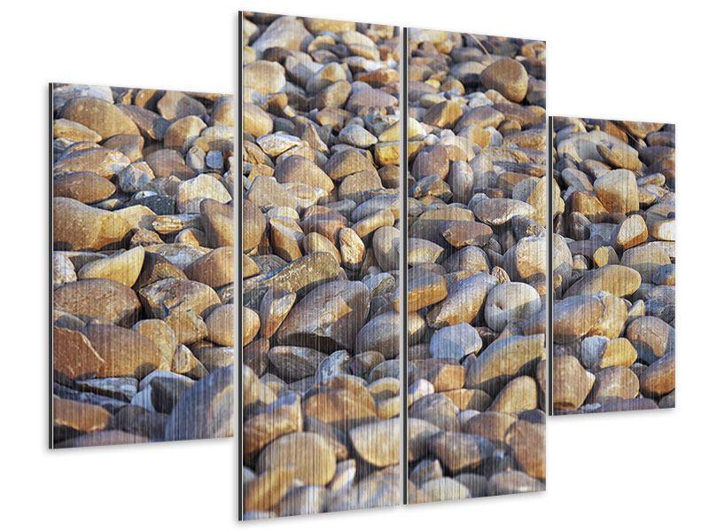 Metallic-Bild 4-teilig Strandsteine