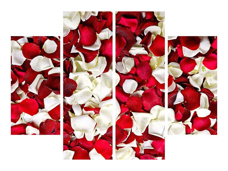 Metallic-Bild 4-teilig Rosenblätter