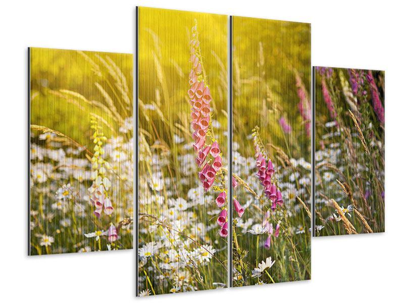 Metallic-Bild 4-teilig Sommerliche Blumenwiese
