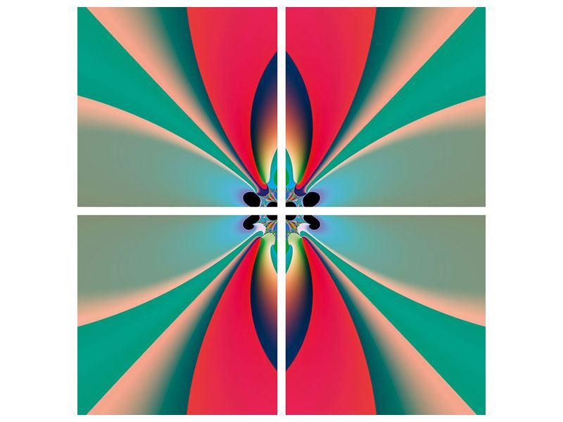 Metallic-Bild 4-teilig Psychedelic Art