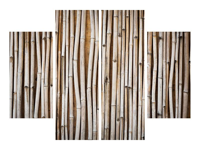 Metallic-Bild 4-teilig Getrocknete Bambusrohre