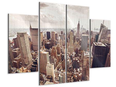 Metallic-Bild 4-teilig Skyline Über den Dächern Manhattans