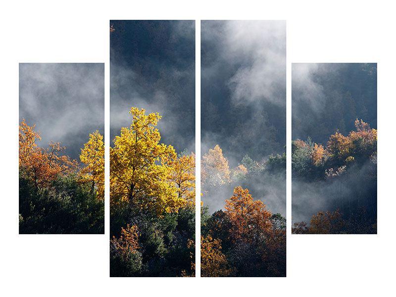 Metallic-Bild 4-teilig Mondscheinwald