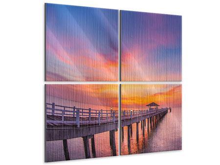 Metallic-Bild 4-teilig Die romantische Brücke bei Sonnenuntergang