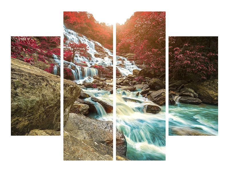 Metallic-Bild 4-teilig Exotischer Wasserfall