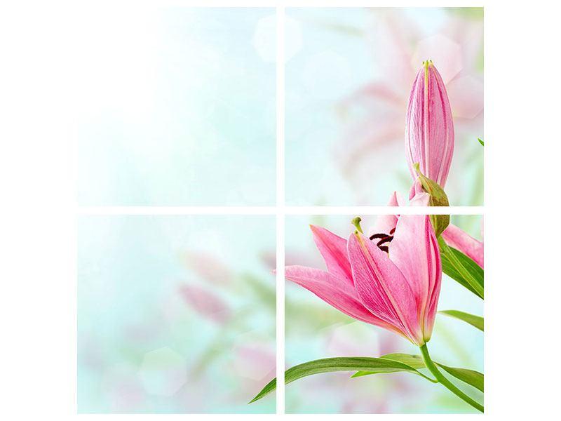 Metallic-Bild 4-teilig Romantische Lilien