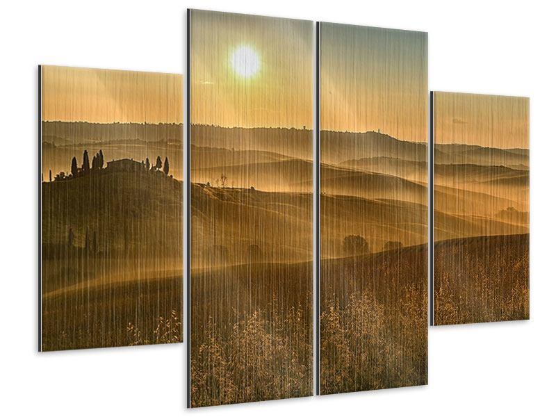 Metallic-Bild 4-teilig Sonnenuntergang im Gebirge