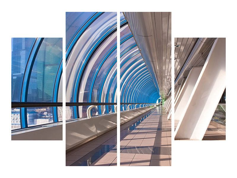 Metallic-Bild 4-teilig Hypermoderne Brücke