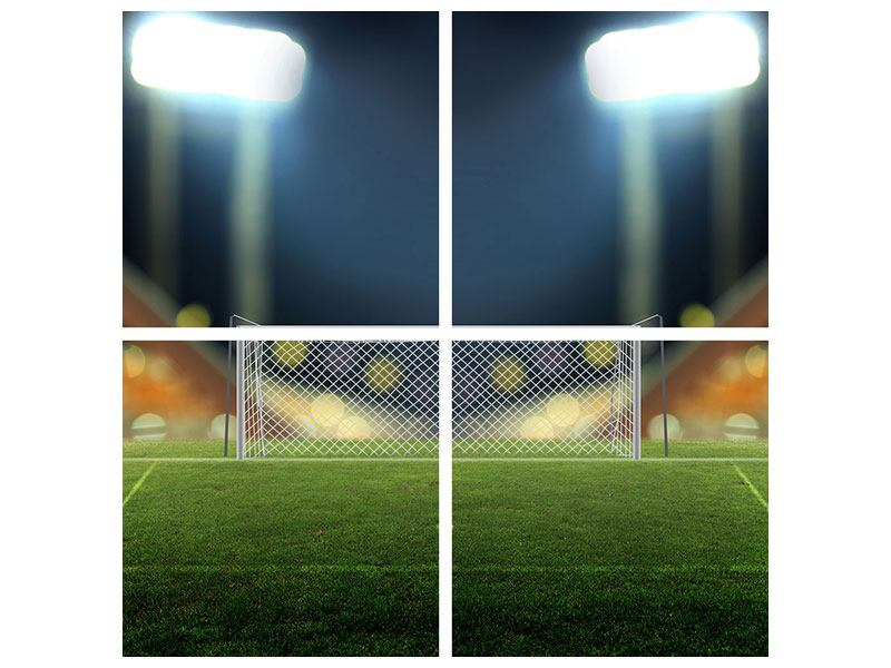Metallic-Bild 4-teilig Fussballtor