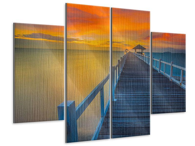 Metallic-Bild 4-teilig Eine Holzbrücke im fernen Osten