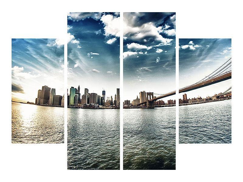 Metallic-Bild 4-teilig Brooklyn Bridge From The Other Side