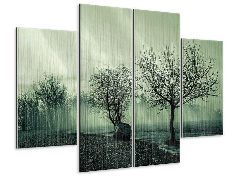 Metallic-Bild 4-teilig Der Auwald im Nebel
