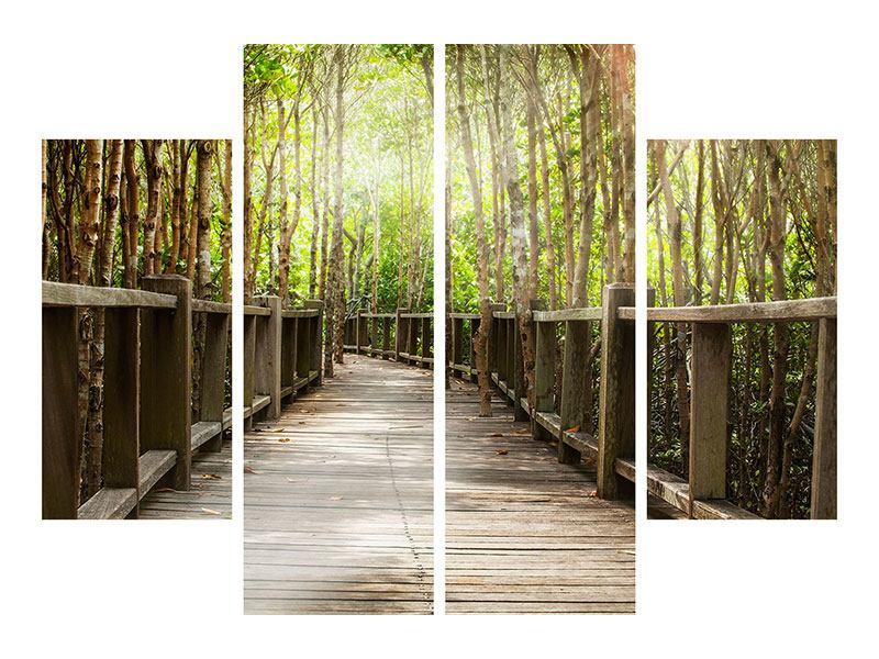 Metallic-Bild 4-teilig Hölzerne Brücke