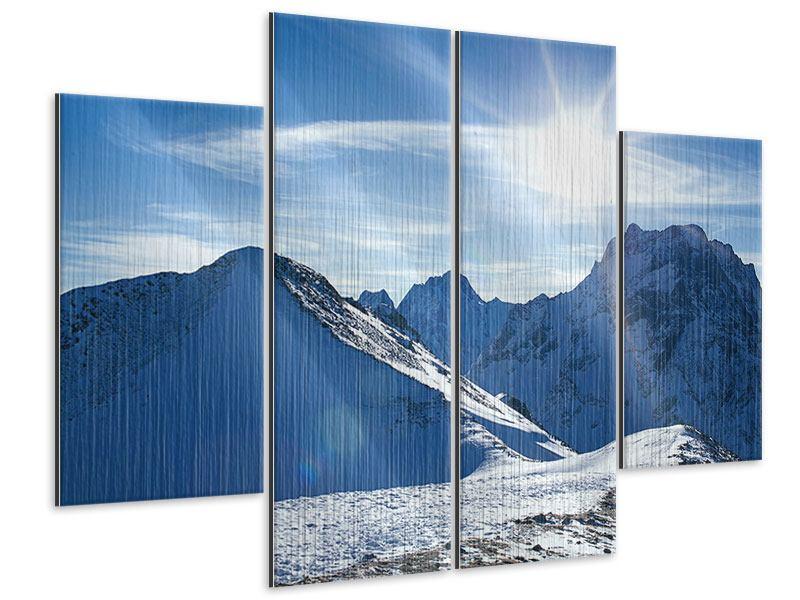 Metallic-Bild 4-teilig Der Berg im Schnee