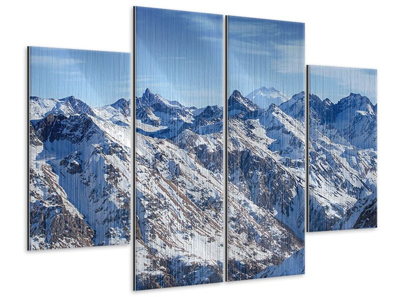 Metallic-Bild 4-teilig Gipfelspitzen