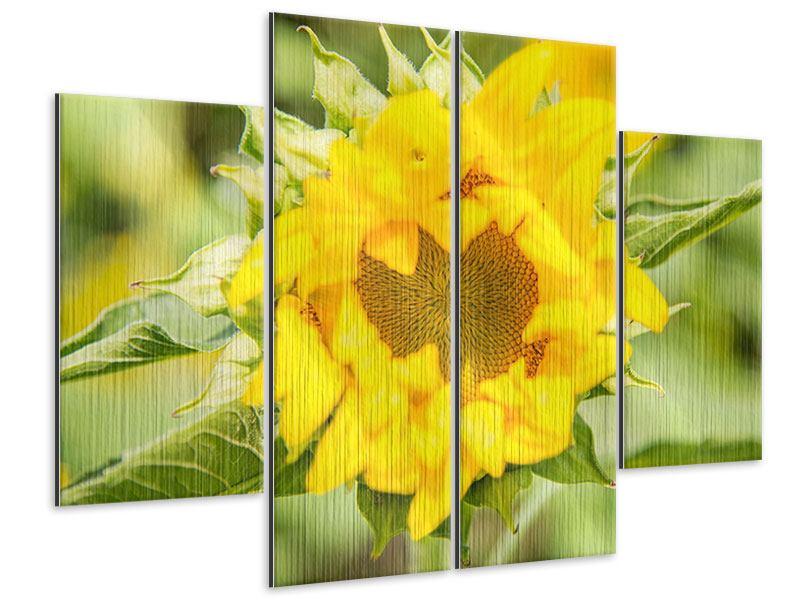 Metallic-Bild 4-teilig Wilde Sonnenblume