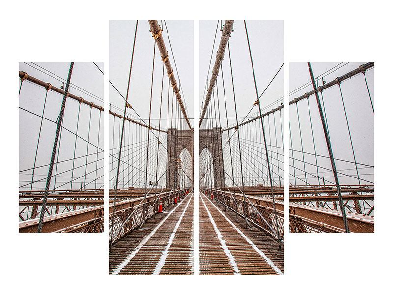 Metallic-Bild 4-teilig Auf der Brooklyn Bridge