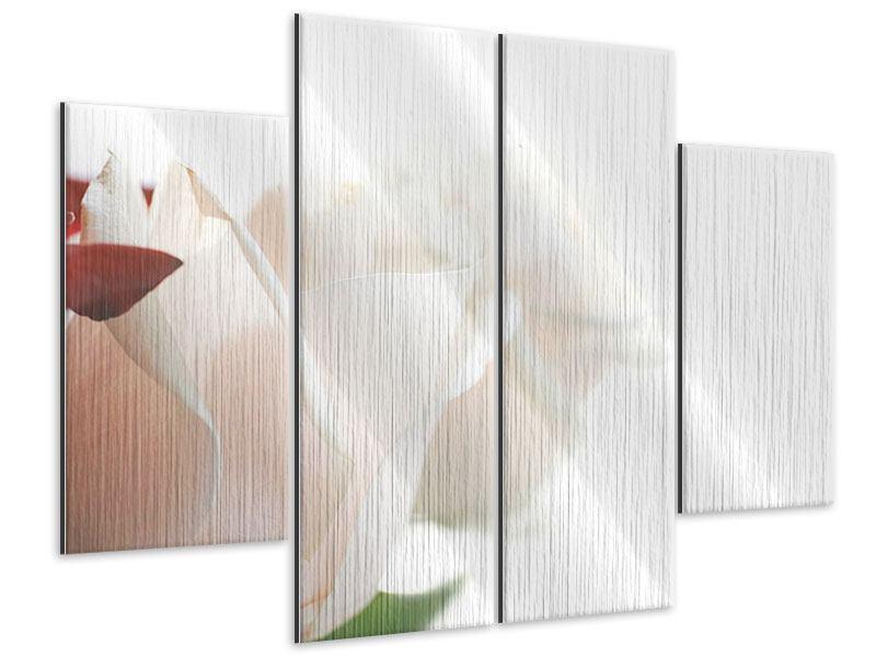 Metallic-Bild 4-teilig Herrliche Rosen