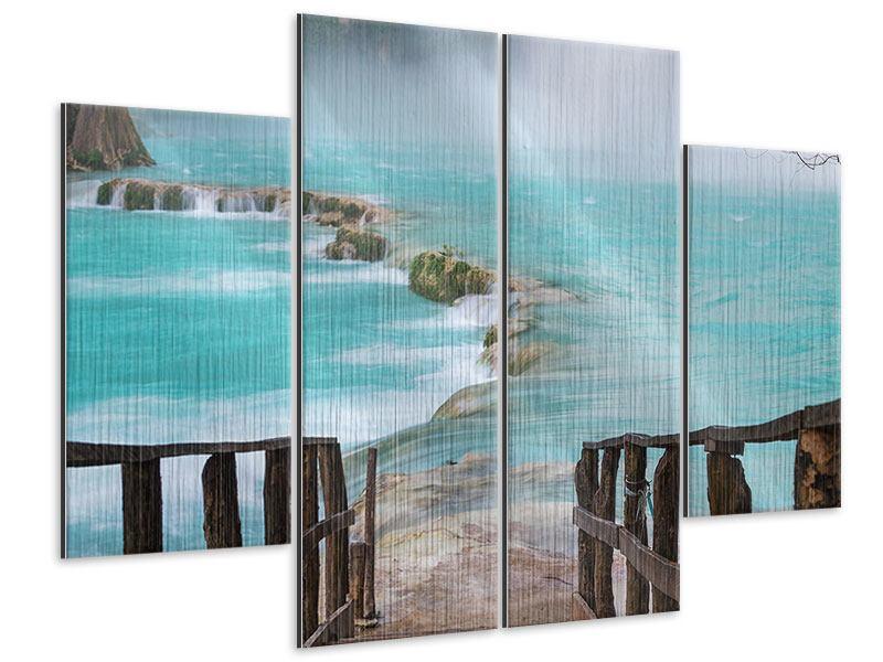 Metallic-Bild 4-teilig Haus am Wasserfall