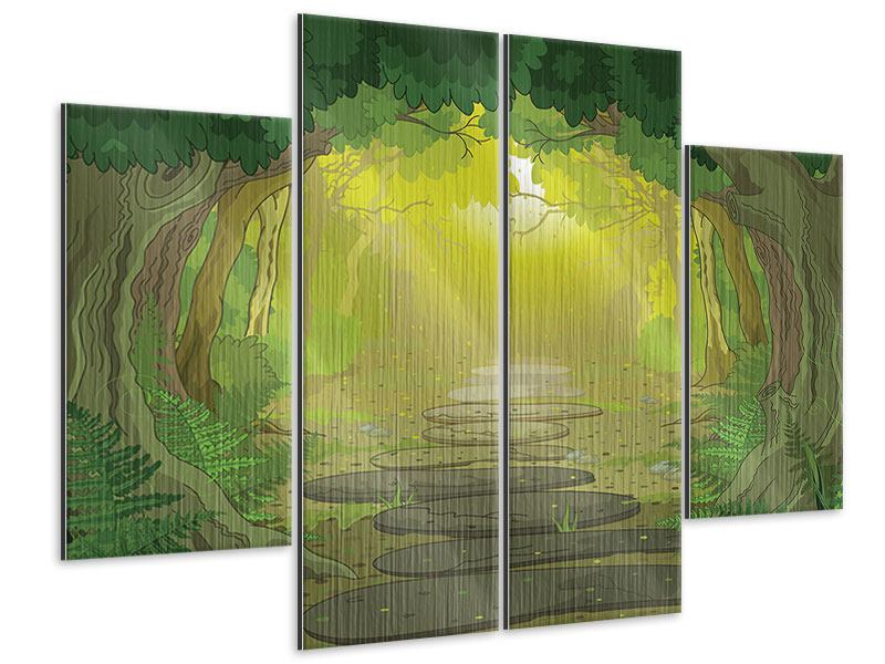 Metallic-Bild 4-teilig Der Märchenwald