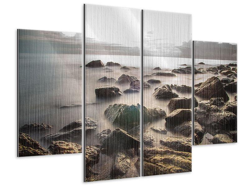 Metallic-Bild 4-teilig Steine am Strand