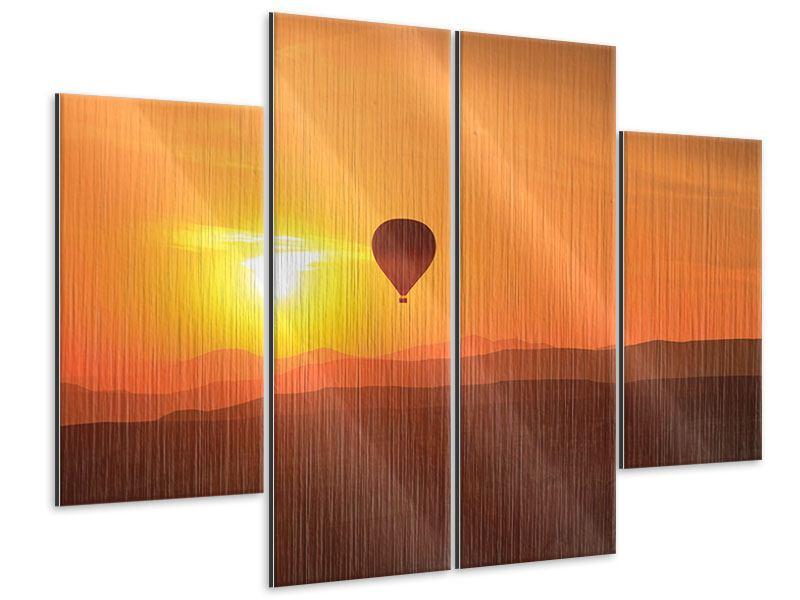 Metallic-Bild 4-teilig Heissluftballon bei Sonnenuntergang
